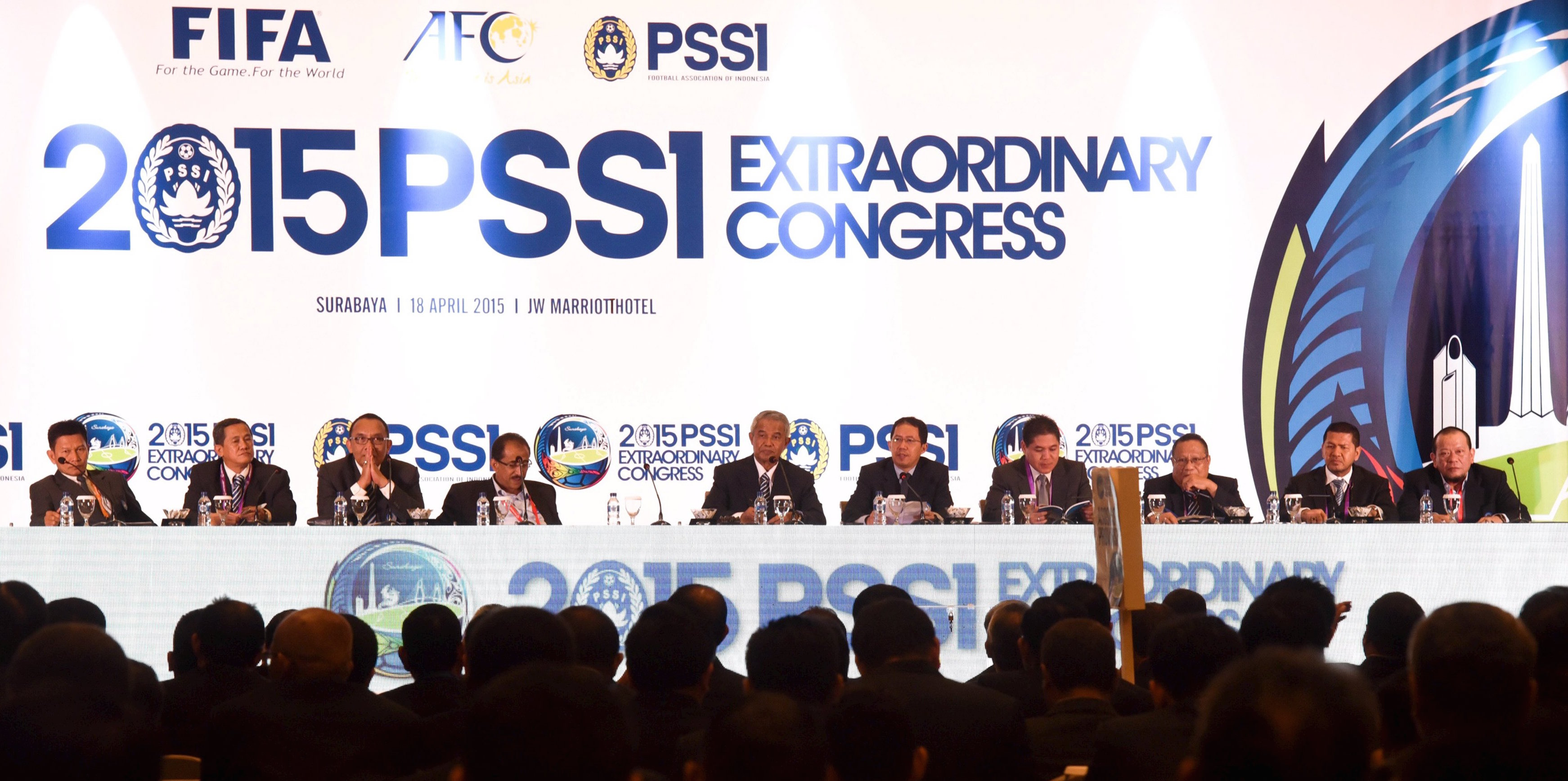 The organization committee of local soccer association PSSI attend the opening ceremony of PSSI Extraordinary Congress in Surabaya